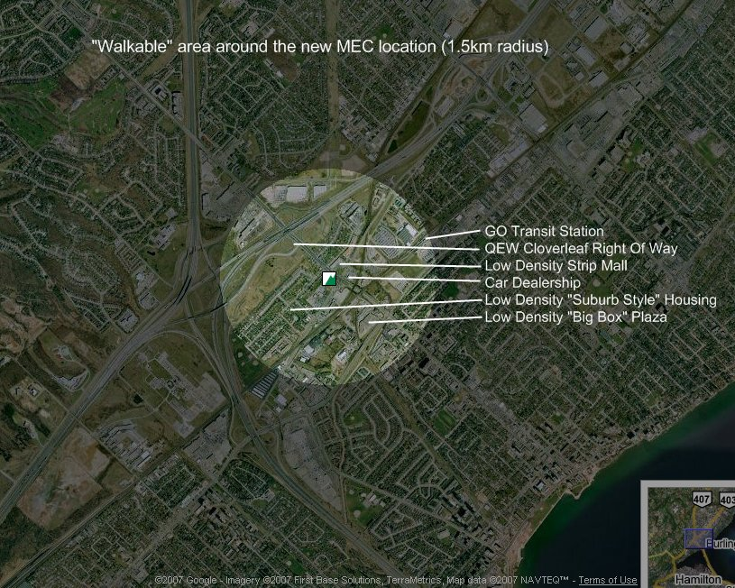 Walkable area around the new MEC location (1.5 km radius)