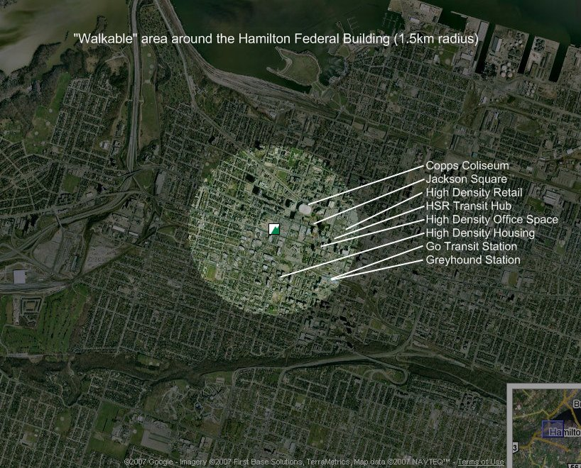 Walkable area around the Hamilton Federal Building (1.5 km radius)